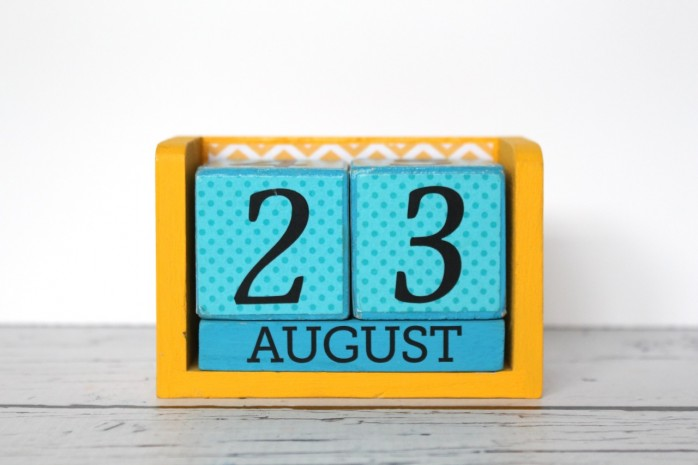 Perpetual Block Calendar: 7 Back to School Organizing Solutions including a dry erase board, perpetual calendar, chalkboard organizer, Weekly Schedule and more.