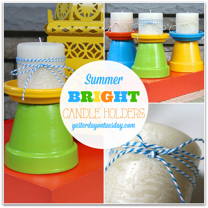 DIY Summer Bright Candle Holders