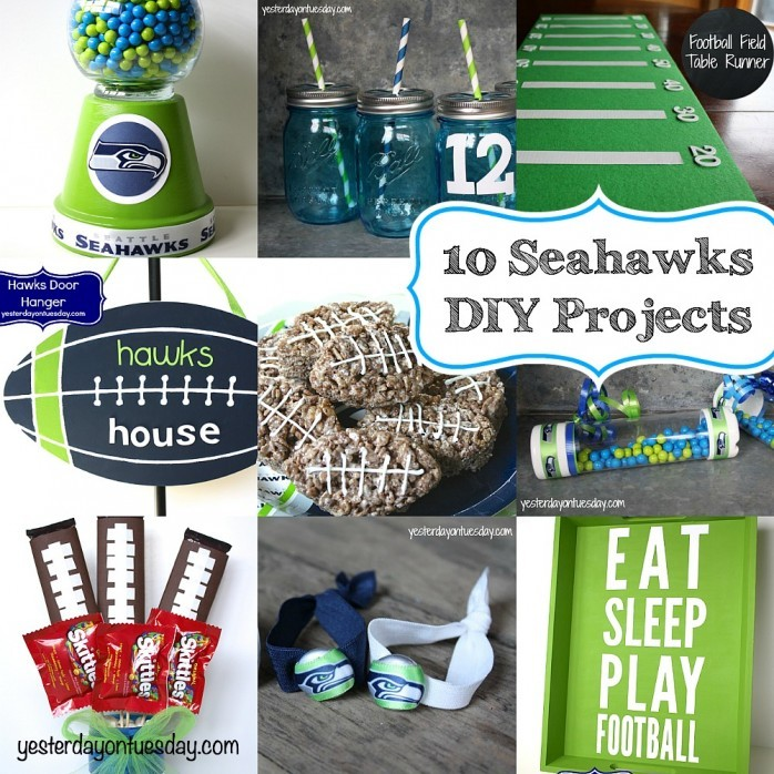 10 Seahawks DIY Projects including a mason jar candy bouquet, tray, football field table runner and more!