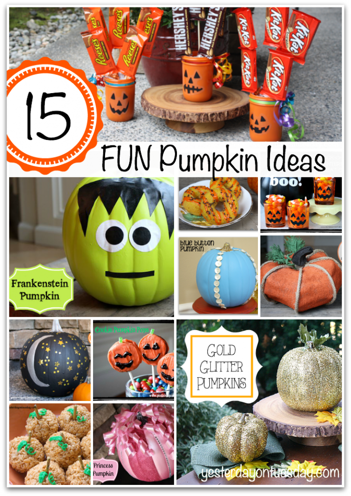 15 Fun Pumpkin Ideas including jack-o-lantern mason jars, gold glitter pumpkin, Frankenstein pumpkin, Starry Night Pumpkin and more.