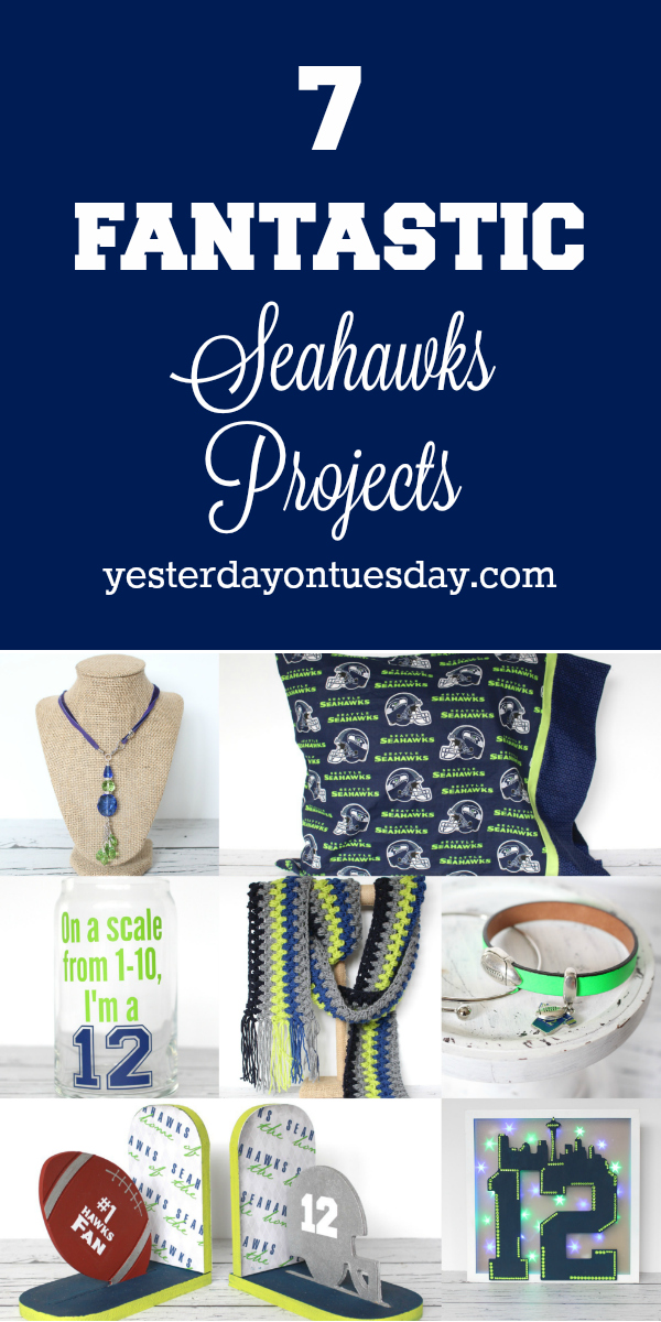7 Fantastic Seahawks Projects including a scarf jewelry, a pillowcase, beer mug and more!
