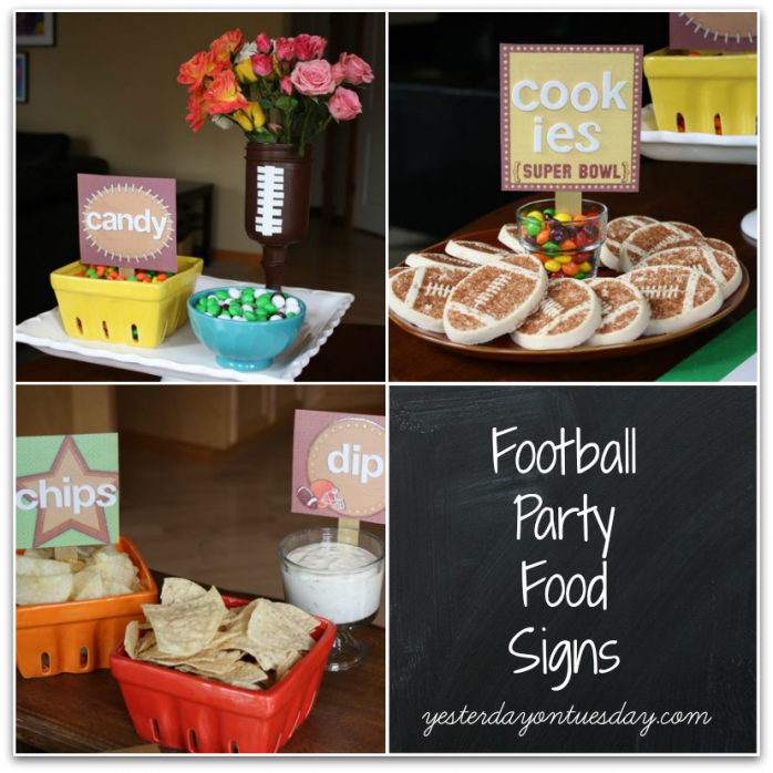 Football Party Food Signs