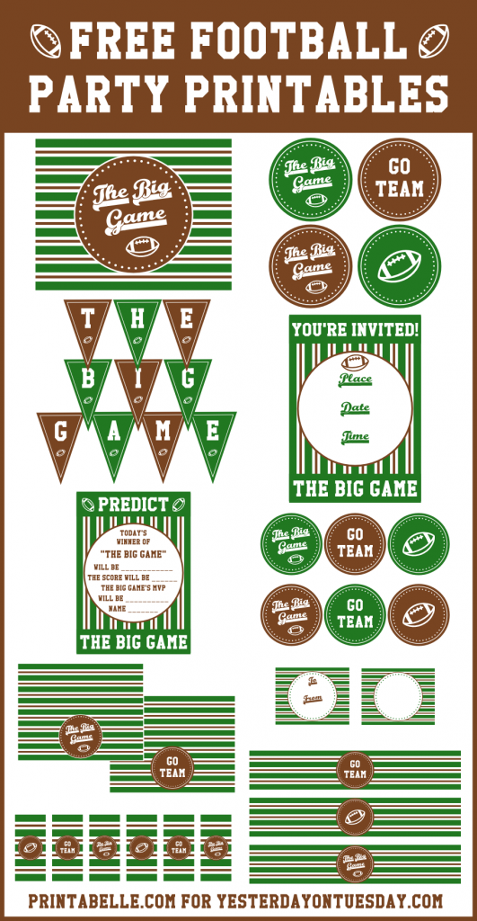 Free Football Party Printables, great for game day!