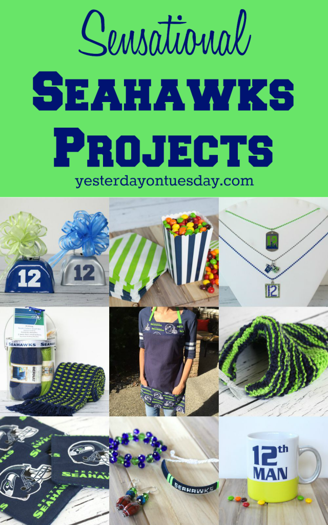 Sensational Seahawks Projects including an apron, noisemakers, a scarf, necklaces and more!