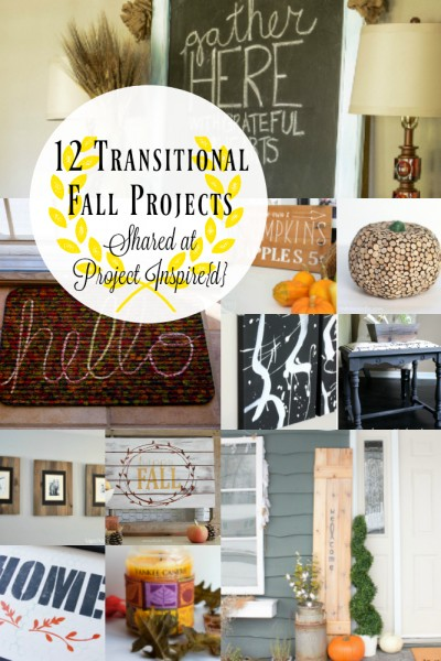 12 Transitional Fall Projects including a wood slice pumpkin, Welcome Sign, Hello welcome mat and more.