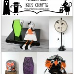 7 Spooky Halloween Kids Crafts including a Spider Web Doily Dream Catcher, Pom-Pom Crows, a Pinecone Witch and more.