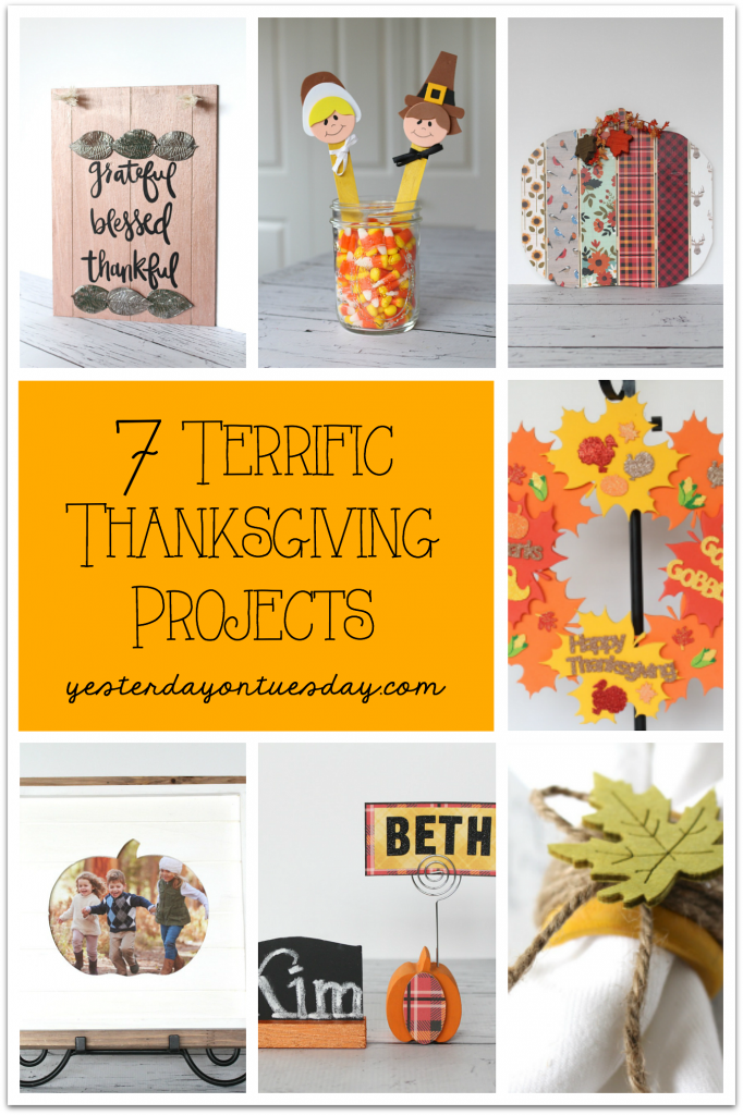 7 Terrific Thanksgiving Projects including Pilgrim Puppets, a foam leaf wreath, Grateful Sign and more!