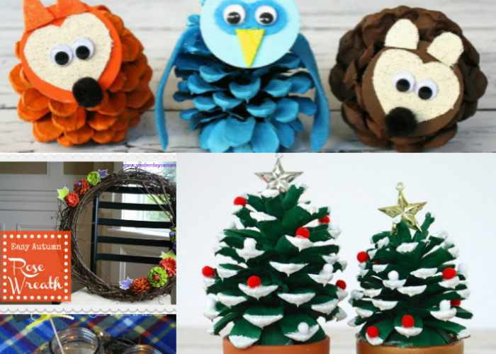 9 Easy Pinecone Projects: Great craft ideas for pinecones including woodland creatures, Christmas trees, wreaths, centerpiece ideas and more!