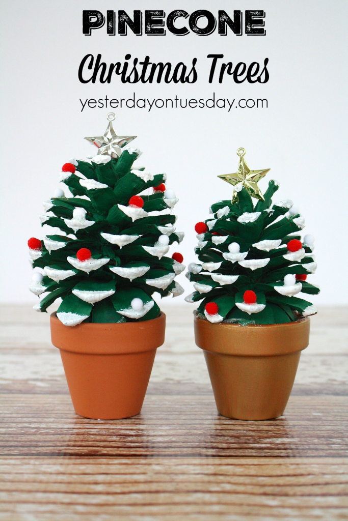 DIY Pinecone Christmas Trees: How to make Pinecone Christmas Trees, a great kid's craft