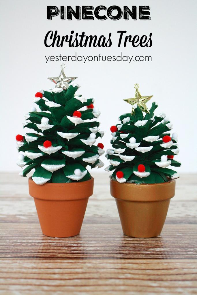 DIY Pinecone Christmas Trees: How to make Pinecone Christmas Trees, a great kid's craft