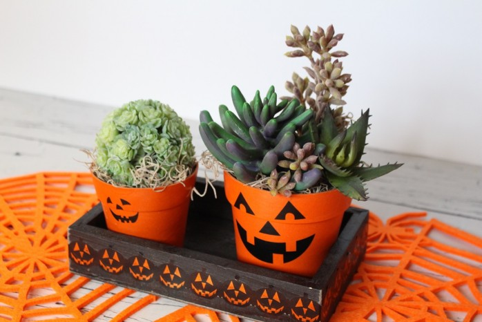 7 Spooky Halloween Decor Ideas including pumpkin planters, a Dias de los Muertos skull, a black cat lighted frame and more!