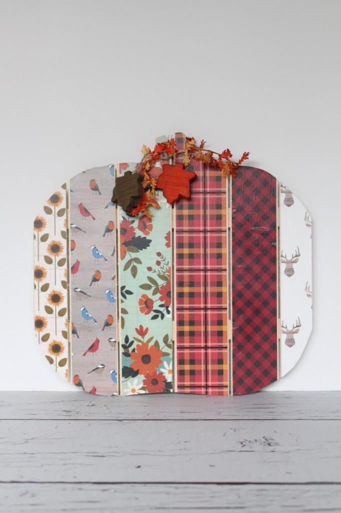 Easy Scrapbook Paper Pumpkin Decor