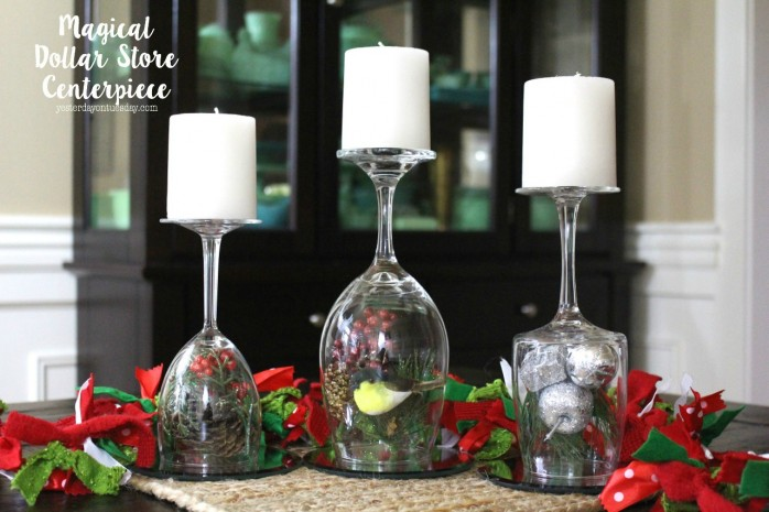 Magical Dollar Store Centerpiece: How to make a stunning centerpiece for Christmas Dinner and New Year's with a few items from the dollar store.