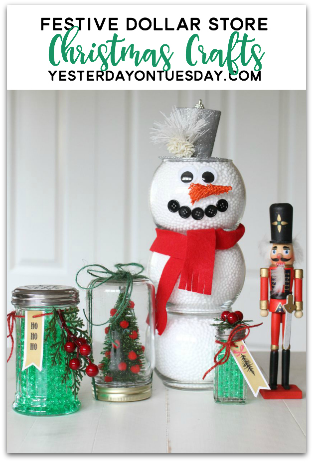 Festive Dollar Store Christmas Crafts: Fun and budget friendly craft and decor ideas you can make with supplies from the dollar store.