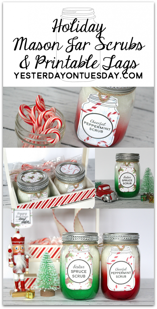Holiday Mason Jar Scrubs and printables