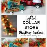 Lighted Dollar Store Christmas Garland: How to transform a plain string of lights and some ribbon from the dollar store into lush and festive holiday decor.