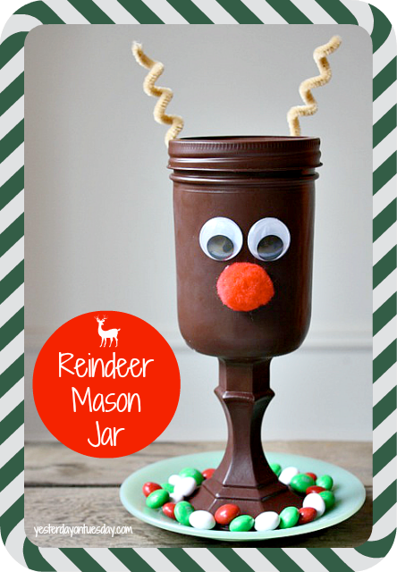 Reindeer Mason Jar Gift: Use supplies from the dollar store to make a sweet reindeer gift for Christmas.