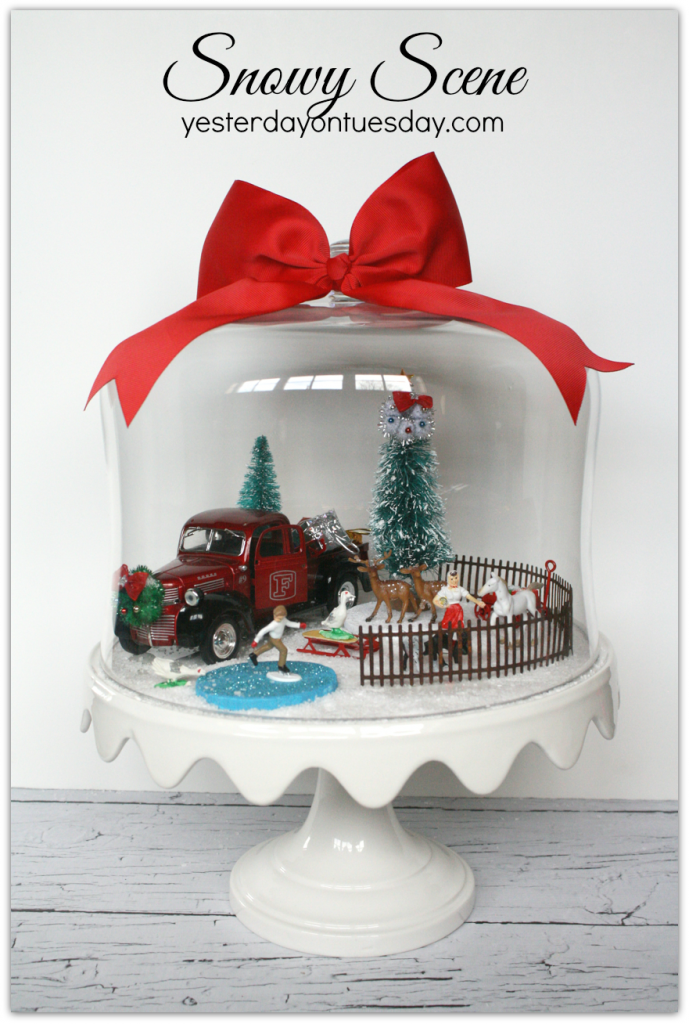 Snowy Scene Under Glass: A Charming Christmas decor idea, featuring a Christmas Tree on a Truck!