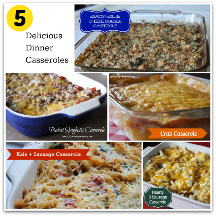Delicious and easy to make dinner casseroles including Baked Spaghetti, Bacon Blue Cheese, Kale and Sausage and more! Satisfying comfort food.