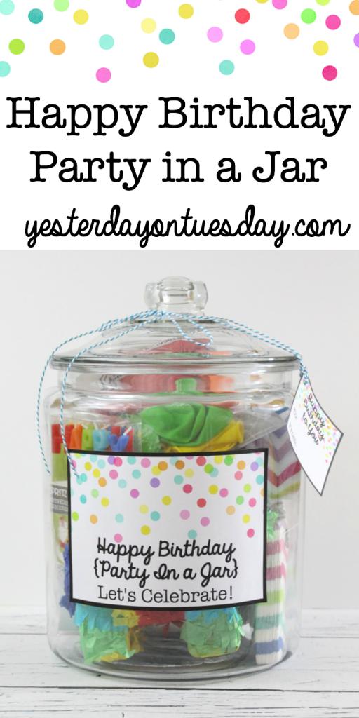 Happy Birthday Party in a Jar: Make a birthday celebration to go plus free festive printables.