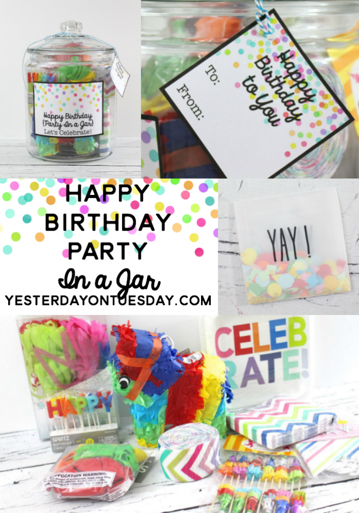 Happy Birthday Party in a Jar: Make a birthday celebration to go plus free festive printables.