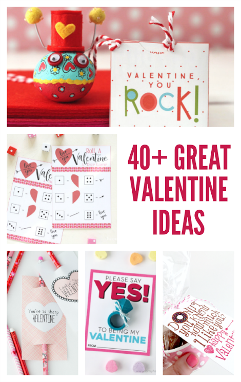 A collection of 40+ Great Valentine Ideas, Valentine's Day cards, gifts and decor ideas from your favorite bloggers!