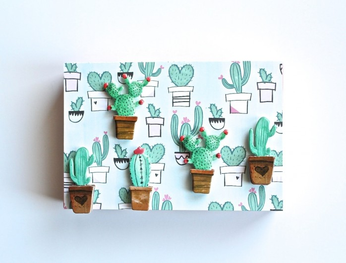 DIY Easy Cactus Art: Whip up darling cactus art for your home or for gift giving with just four simple supplies!