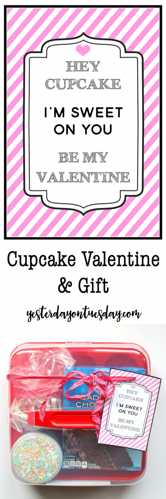 Cupcake Valentine and Gift Funny cupcake Valentine, a free printable fun with a few items from the dollar store that can be used to make and decorate cupcakes! Budget friendly Valentine's Day gift idea.