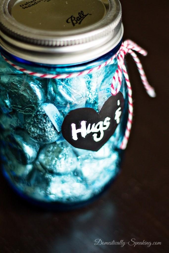 Hugs and Kisses Mason Jar