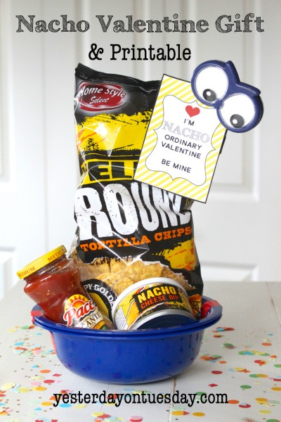 Nacho Valentine and Gift Funny Nacho Ordinary Valentine, a free printable fun with a few items from the dollar store that can be used to make nachos! Budget friendly Valentine's Day gift idea.