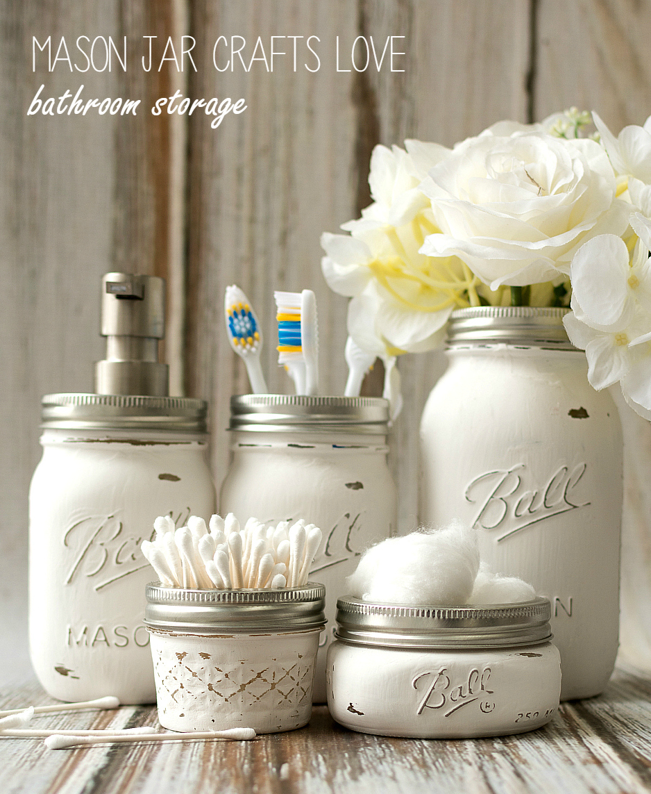 A dozen mason jar ideas for the bathroom yesterday on for Crafts using mason jars