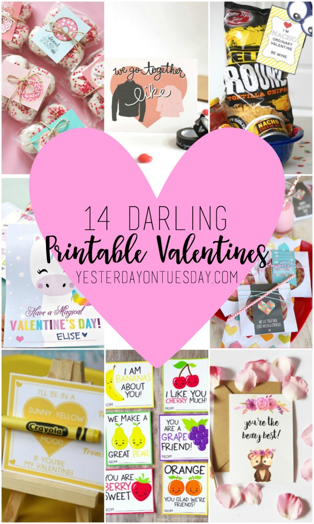 14 Darling Printable Valentines. Just print for friends and classroom parties.