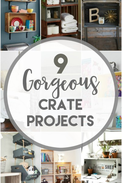 9 Gorgeous Crate Projects to make including shelving, a pet bed, hanging closet crate organizer, industrial table and more. Tons of great ideas.