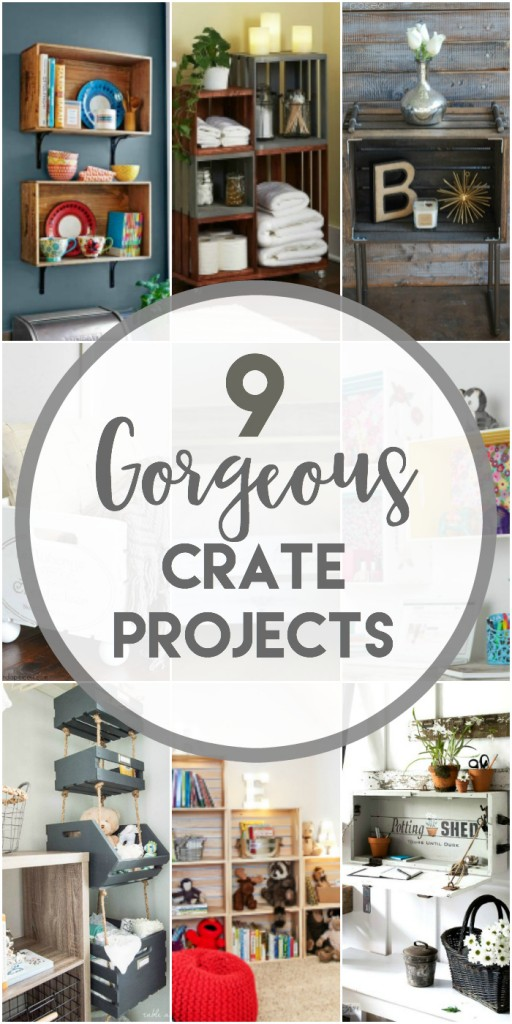 9 Gorgeous Crate Projects to make including shelving, a pet bed, closer crate organizer, industrial table and more. Tons of great ideas.