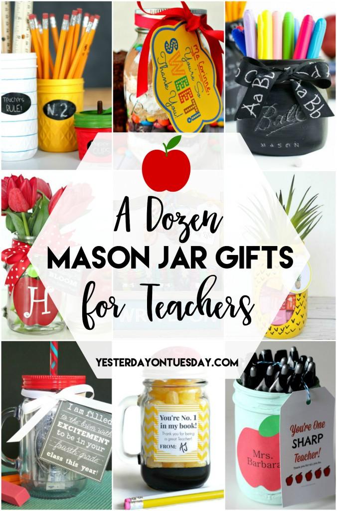 A Dozen Mason Jar Gifts for Teachers: Great ideas to make that teacher feel special. Awesome for Teacher Appreciation!