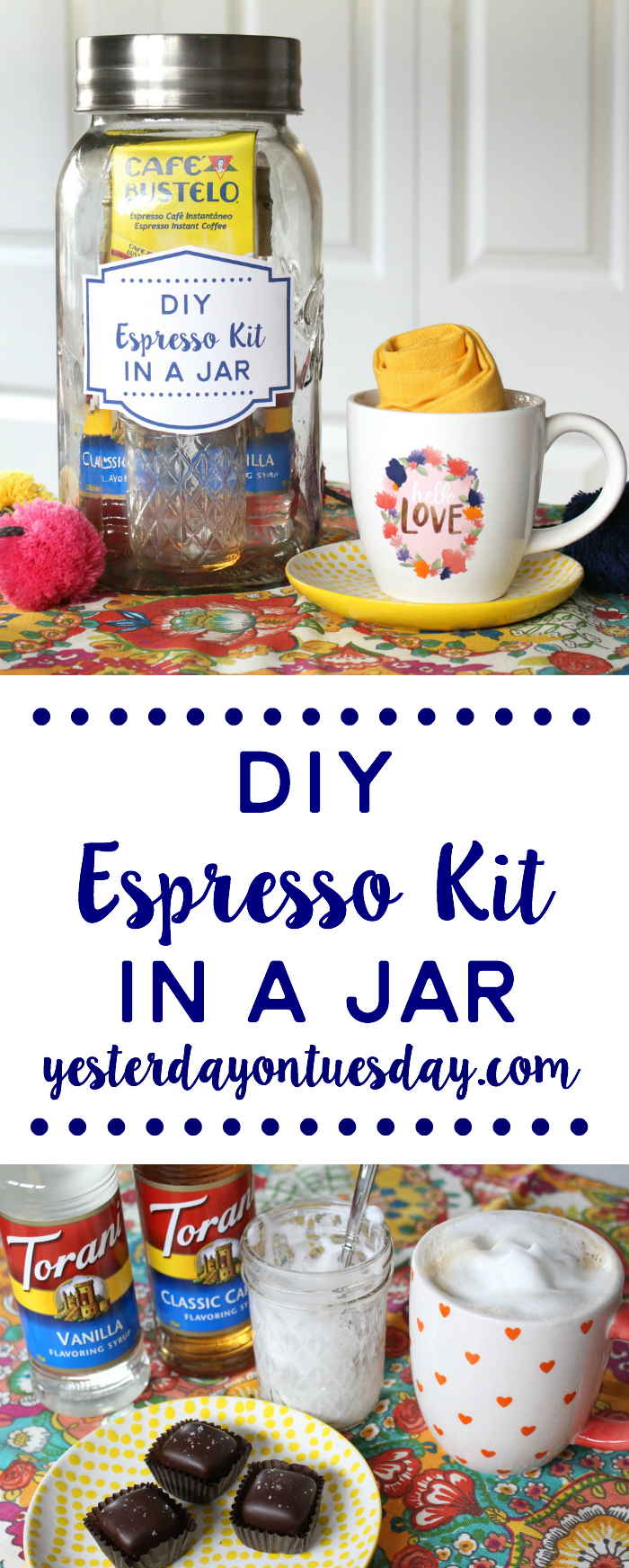 DIY Espresso Kit in Jar: Everything you need to make flavored espresso at home, no espresso machine or needed! Plus how to froth milk in a mason jar.