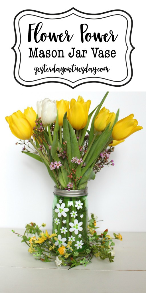 Flower Power Mason Jar Vase: How to whip up a cute floral themed mason jar vase.