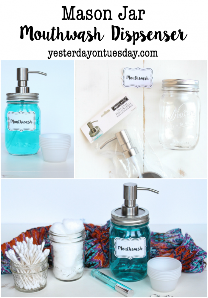 DIY Mason Jar Mouthwash Dispenser: No more ugly bottles!  Create a chic looking mouthwash dispenser out of a mason jar in minutes. Awesome way to organize the bathroom counter.