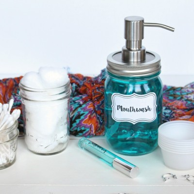 DIY Mason Jar Mouthwash Dispenser
