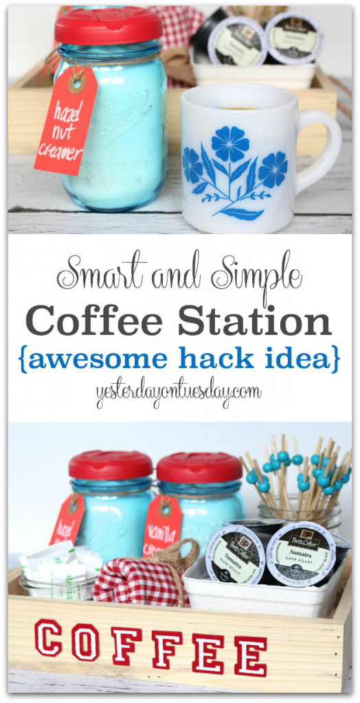 Smart and Simple Coffee Station: Cool mason jar hack to transform mason jars so you can serve creamer, sugar, anything out of them!