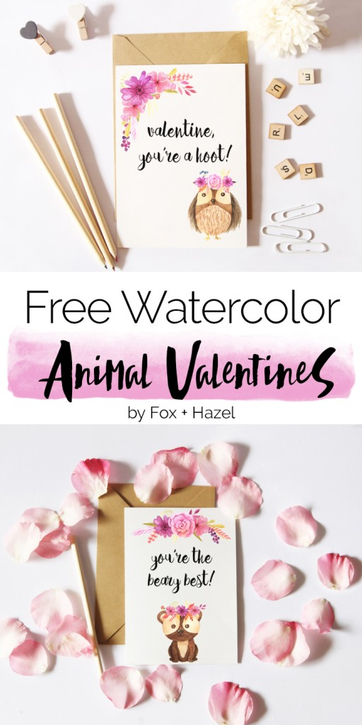 Watercolor Animal Valentines