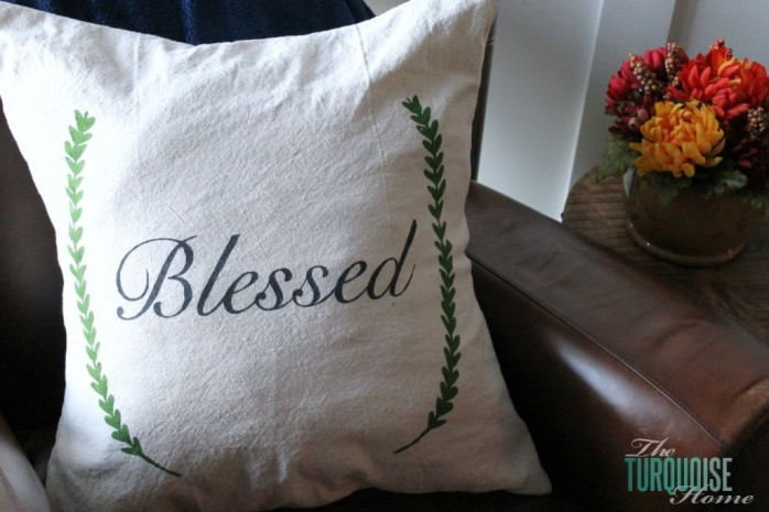 Blessed Stencil Drop Cloth Pillow from The Turquoise Home