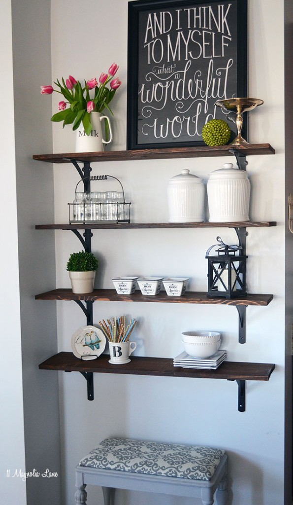 DIY Stained Open Shelving by 11 Magnolia Lane