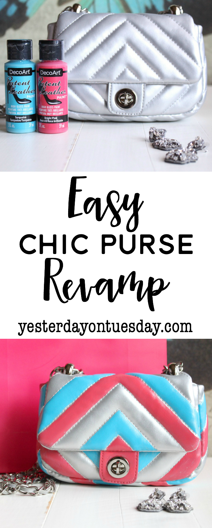Easy Chic Purse Revamp: How to transform a plain purse into a chic handbag for spring with paint. Amazing results! Great for recycling or upcycling a worn leather purse into a fresh look!