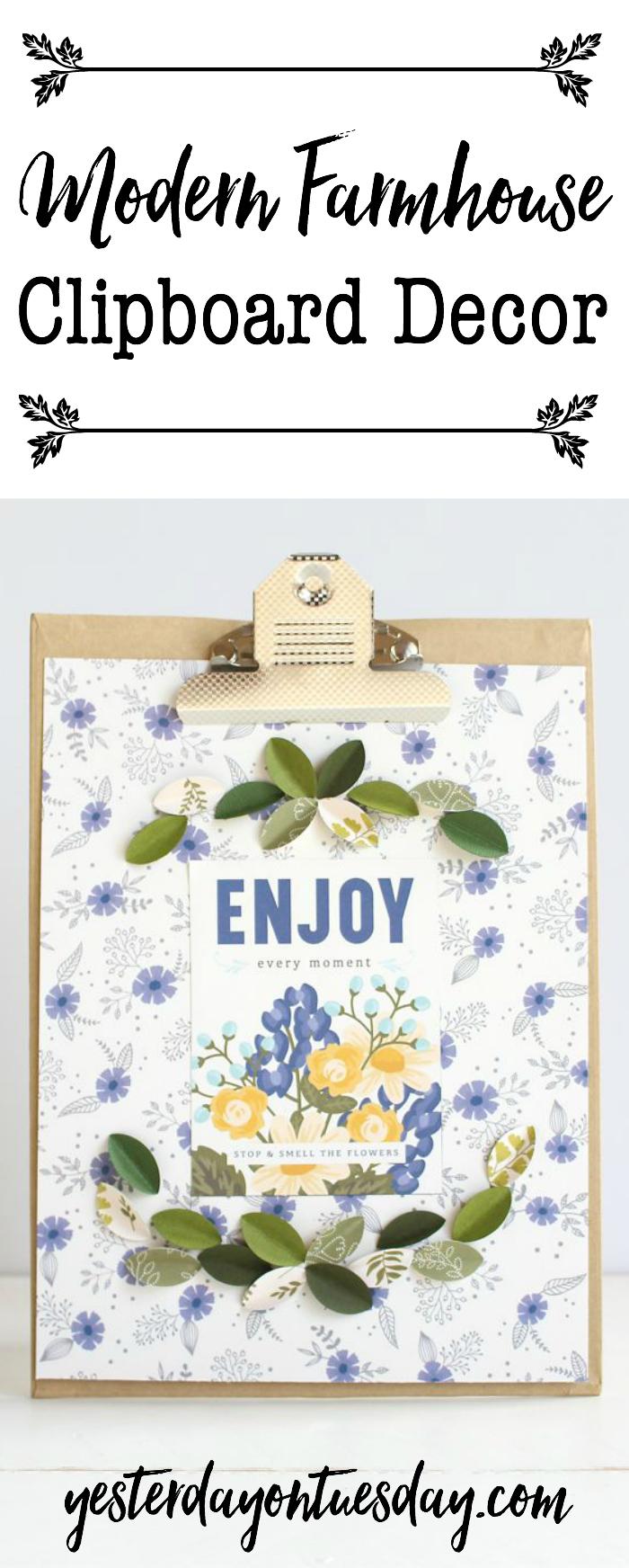 Modern Farmhouse Clipboard Decor: How to make darling fixer upper style art including mini magnolia leaves!