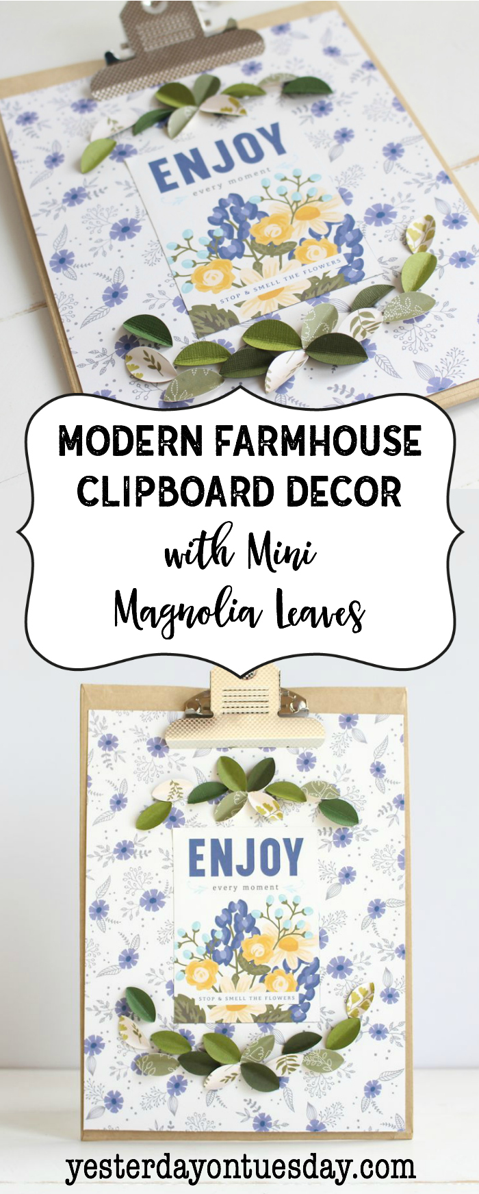 Modern Farmhouse Clipboard Decor: How to make darling fixer upper style art including mini magnolia leaves!