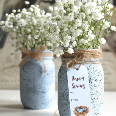 Speckled Robin's Egg Mason Jar