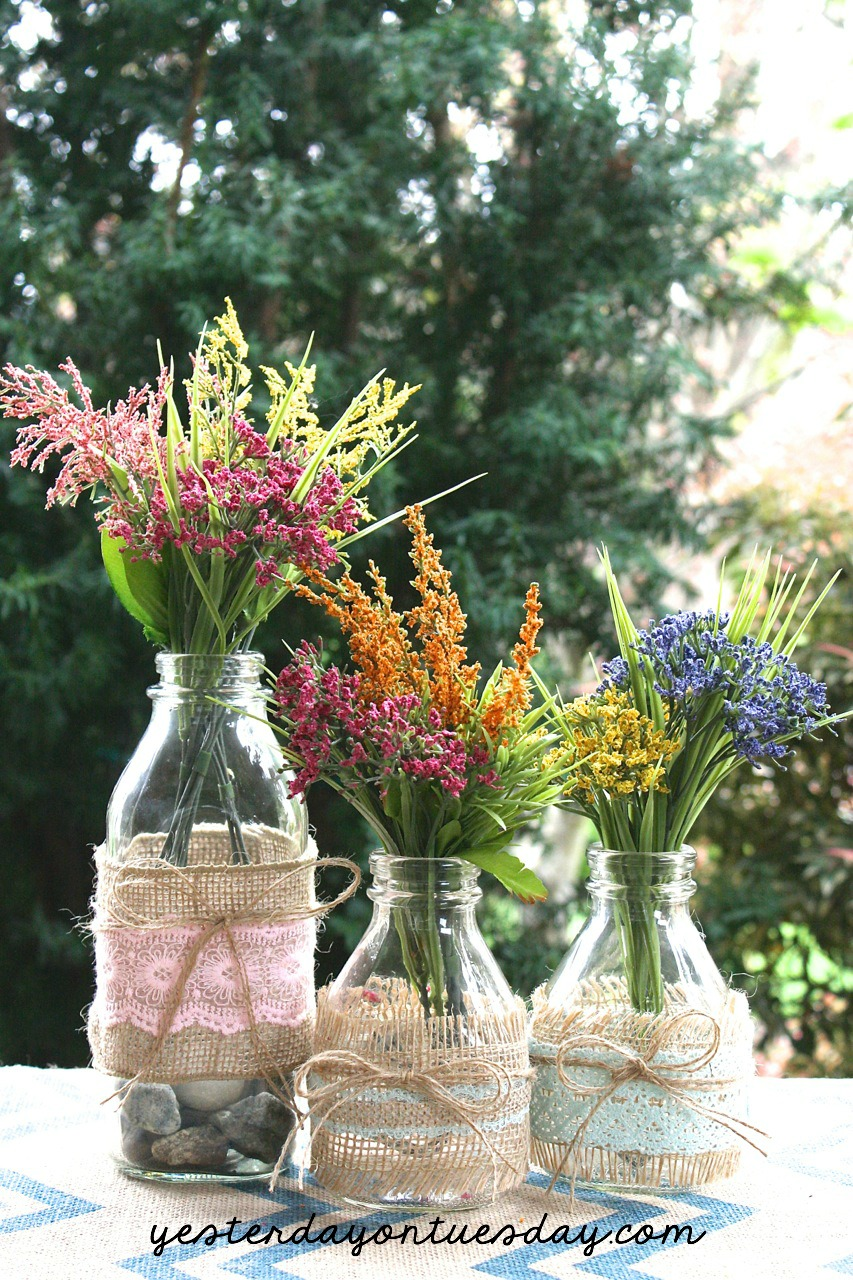 DIY Milk Bottle Vases
