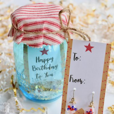 Patriotic Earrings Present in a Mason Jar