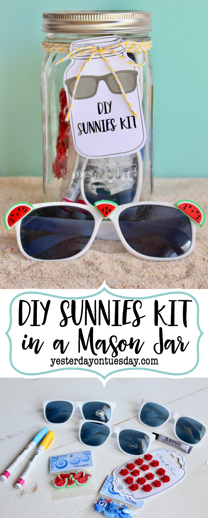 DIY Sunglasses Kit in a Mason Jar